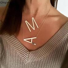 Qingwen novo simples ouro rosa cor de prata 26 A-Z nome da letra inicial colares para as mulheres longo grande carta pingente colar