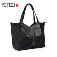 Aetoo Для женщин сумки Сумки на плечо Простые Свадебные ремесленных Для женщин Оксфорд Ткань большая сумка черный Сумки
