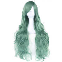 Soowee 20colors Long Curly Hair Green Cosplay Wigs Heat Resistant Synthetic Hair Accessories Party White Black Wig for Women