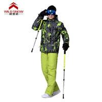 Новые Для мужчин куртка + Штаны Куртки для сноубординга спортивные Водонепроницаемый ветрозащитный дышащий Лыжный Спорт Снег Зимняя одежд