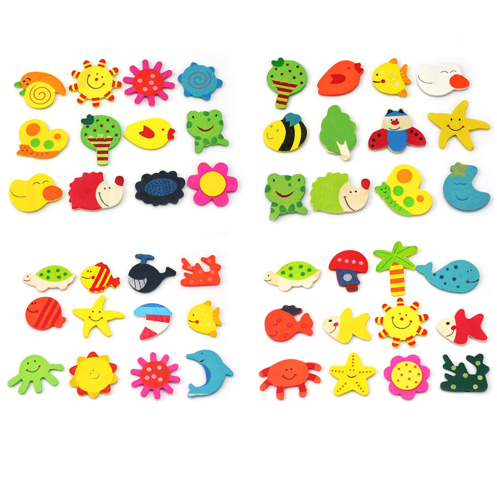 Hot 24Pcs Colourful Cute Animals Wooden Fridge Magnetic Magnet Sticker Novelty Funny Refrigerator Decoration Kids Baby Toy