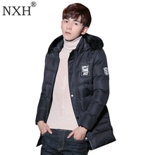 NXH 2017 New arrival Men's winter jacket Warm parkas Regular thick with fur trim hood coats hat detachable Gray Black Armygreen