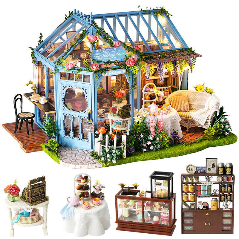 Cutebee DIY House Miniature with Furniture LED Music Dust Cover Model Building Blocks Toys for Children
