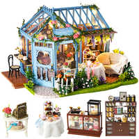 Cutebee DIY House Miniature with Furniture LED Music Dust Cover Model Building Blocks Toys for Children Casa De Boneca A68