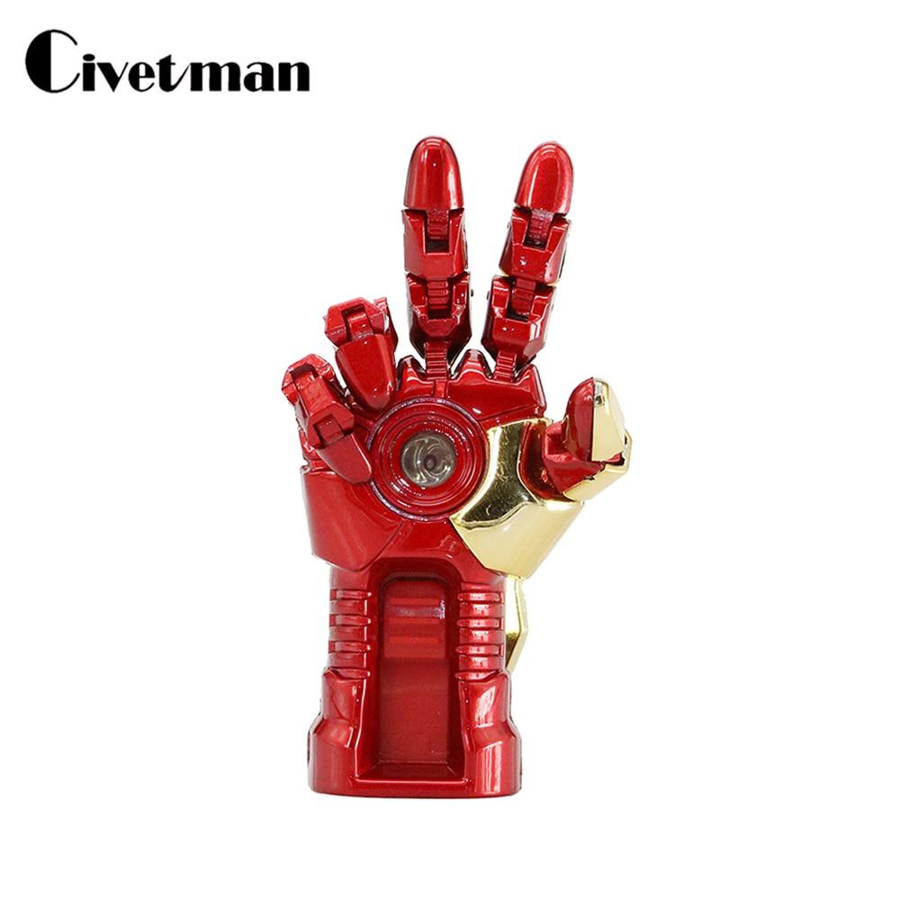 Cartoon Ironman USB Flash Drive 128GB Pen Drive Pendrive Animated Iron Man Hand 4GB 8GB 16GB 32GB 64GB USB 2.0 Memory Stick