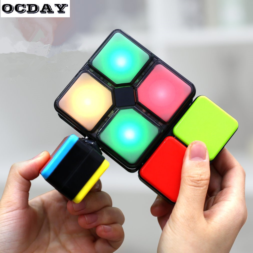 OCDAY Electronic Magic Cube Spinner cubo Fidget Flip Slide Puzzle Toy Light Speed Multiplayer Modes Kids DIY Education Toys Gift