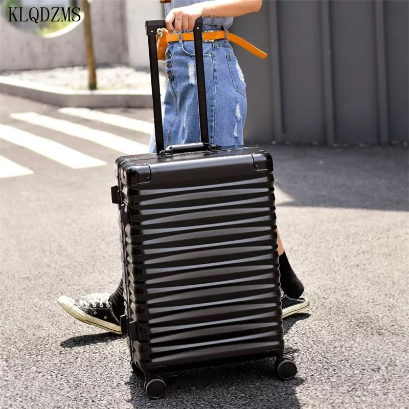 KLQDZMS Aluminum-Frame Suitcase Travel-Bags Rolling-Luggage Business-Trolley Wheels Spinner-Brand
