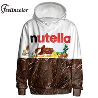 Feelincolor 3D Hoodies Nutella Pattern Men Women Hoodies Couples Casual Style 3D Print Personality Autumn Winter