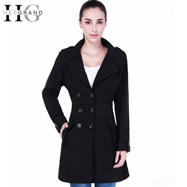HEE GRAND 2017 Hot Sale Autumn Casual OL Trench Women Plus Size Long Double Breasted Slim Windbreaker Outerwear Coats WWF750