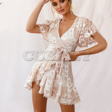 Cuerly Elegant sashes floral lace dress women Summer sexy party beach Fringe short casual female vestidos L5