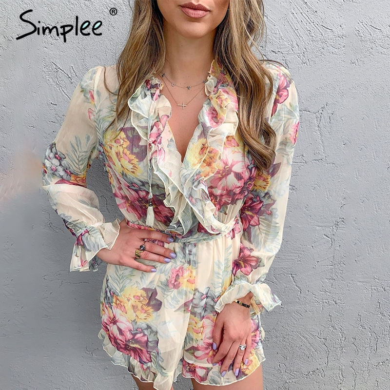 Simplee Elastic high waist floral print women playsuit Elegant ruffled long sleeve sash   jumpsuit   rompers Lining summer overalls