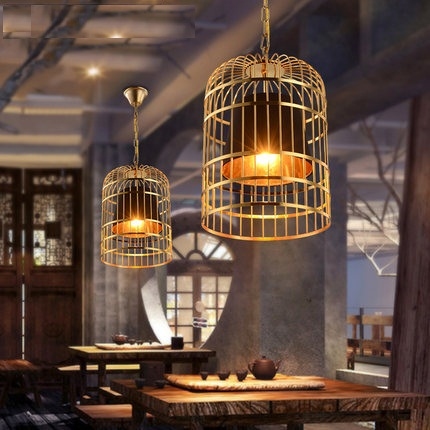 Loft Style Wrought iron cage Droplight LED Pendant Light Fixtures Vintage Industrial Lighting For Dining Room Hanging Lamp retro loft style iron cage droplight industrial edison vintage pendant lamps dining room hanging light fixtures indoor lighting