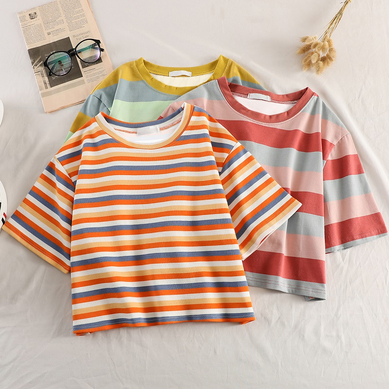 Summer Graphic Tees Women Ulzzang Short Sleeve T Shirt Korean Kawaii Rainbow Stripes T-shirts Harajuku Casual O-neck Crop Top