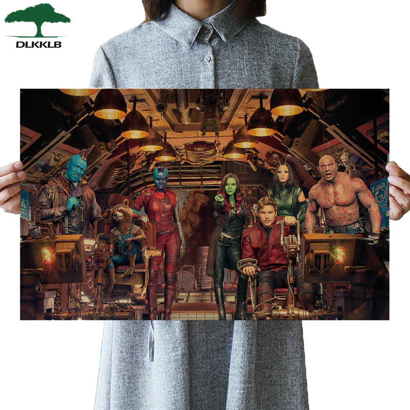 DLKKLB Marvel Movie Poster Vintage Classic Guardians Of The Galaxy Kraft Retro Poster Bar Cafe Decorative Painting Wall Stickers