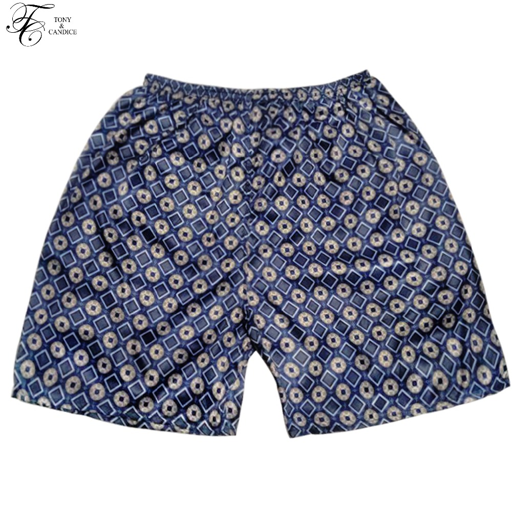 Tony&Candice Sleep Bottoms Men Satin Silk Short Men Boxer Sleep Men's Pajamas Bottom Beach Shorts  In Summer Print Pattern