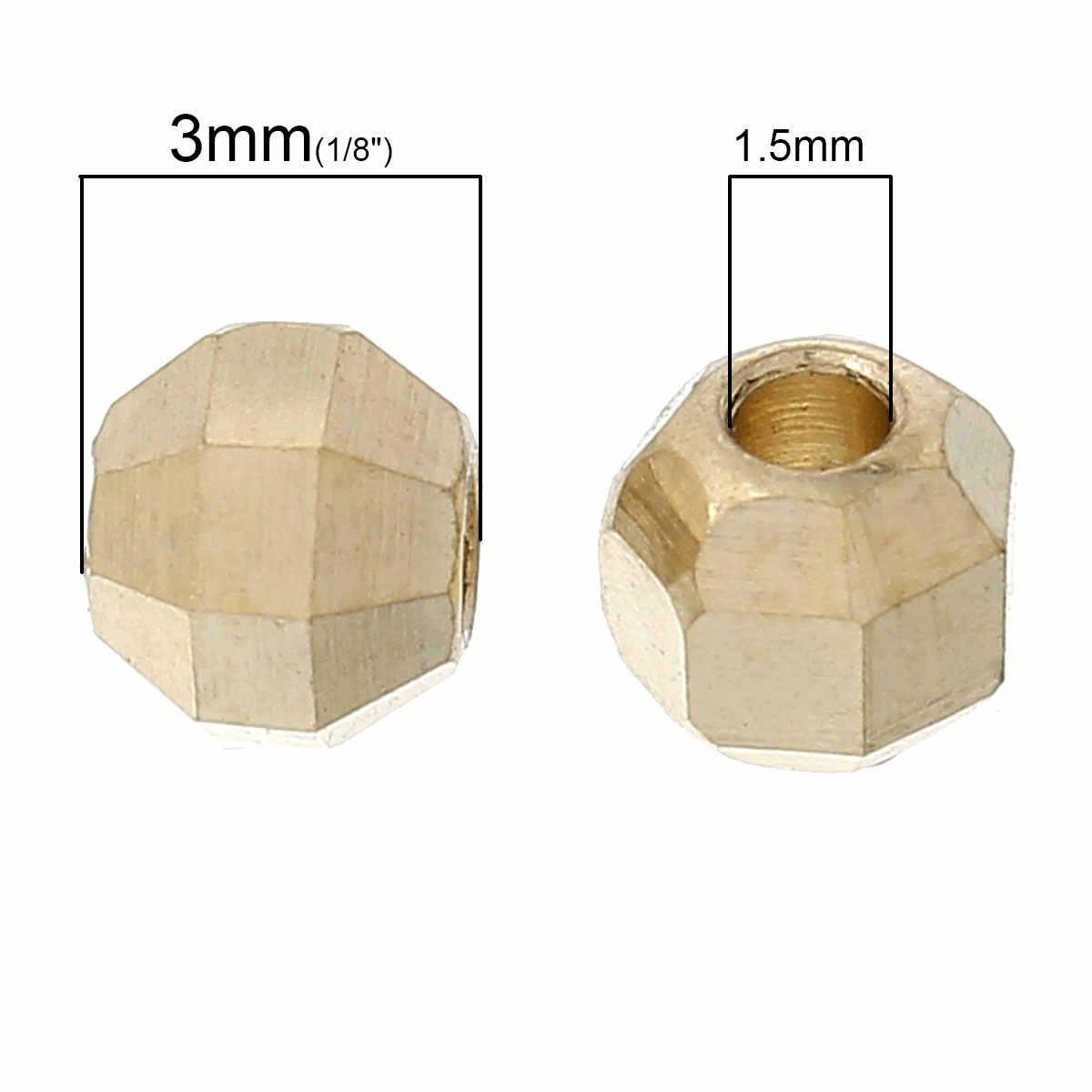 """Doreen b eads ทองแดงลูกปัดรอบแสงสีทองเหลี่ยมเพชรพลอยประมาณ 4 มิลลิเมตร (1/8 """") x 3 มิลลิเมตร (1/8 """"), หลุม: ประมาณ 1.5 มิลลิเมตร, 10 ชิ้น 2017 ใหม่"""