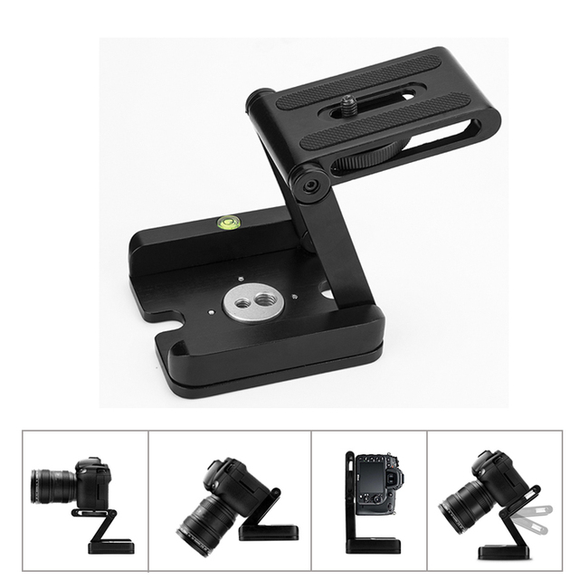 New Z Flex Tilt Tripod Head Aluminum Alloy Folding Z Tilt Head Quick Release Plate Stand Mount Spirit Level For Phones Camera