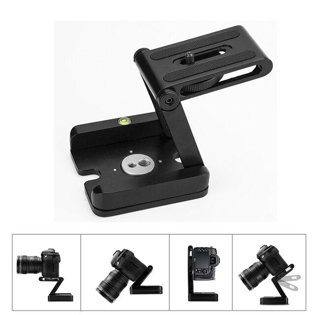 Nuovo Z Flex Tilt Testa del Treppiede In Lega di Alluminio Pieghevole Z Tilt Testa Piastra A Sgancio Rapido Del Basamento Del Supporto Del Livello di Spirito Per telefoni cellulari con Fotocamera