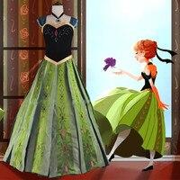 Luxury Handwork Embroidery Adult Princess Anna Costume 2015 Plus Size Women Anna Coronation Dress Adult Customized