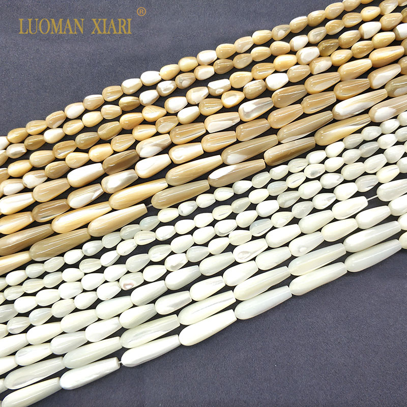 Shell-Stone Necklace Beige-Beads Diy Bracelet Jewelry-Making Water-Drop-Shape Natural
