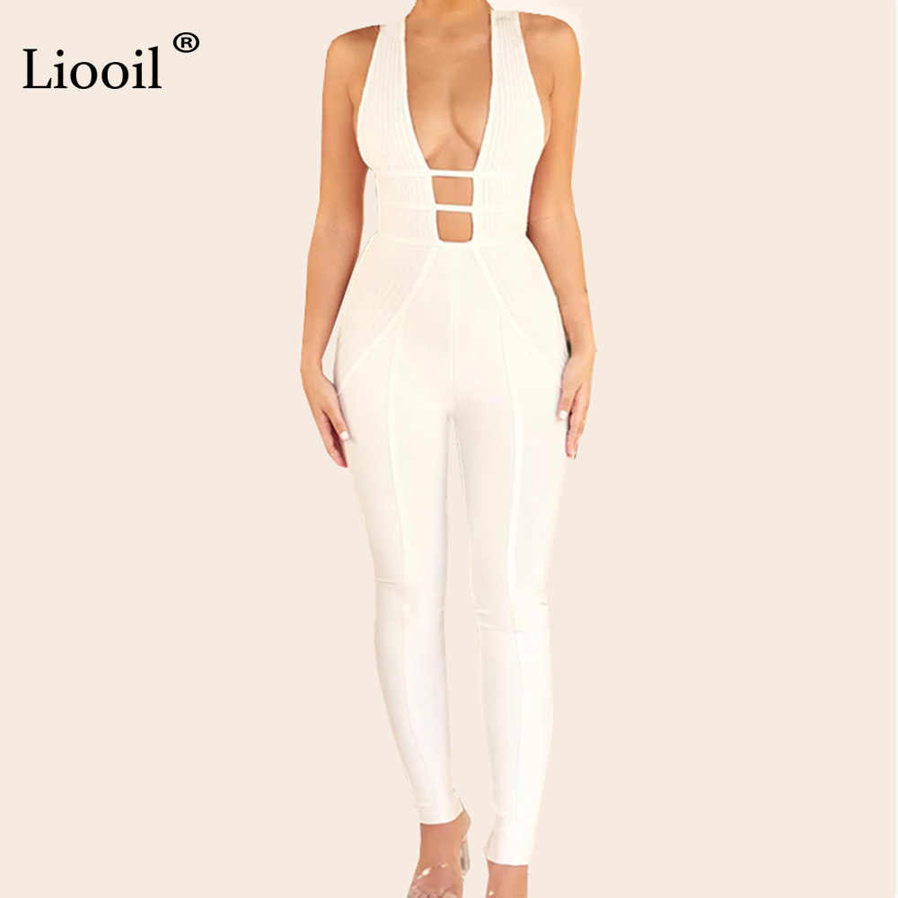 8a0a8215117 Liooil Sexy White Halter Jumpsuits For Women 2019 Hollow Out V Neck  Backless Bodycon Jumpsuit Party