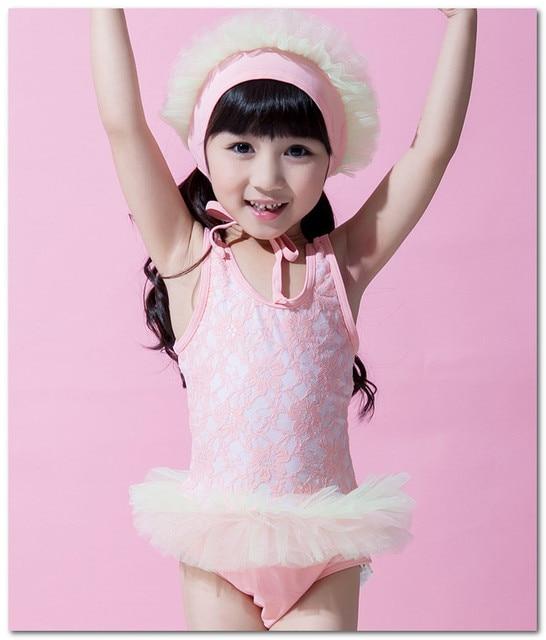 3d6fc1fd54 Fashion children swimsuits girls cute ballet lace tutu skirt Siamese swimwear  lace Frilly swim hats kids spa beachwear 7073