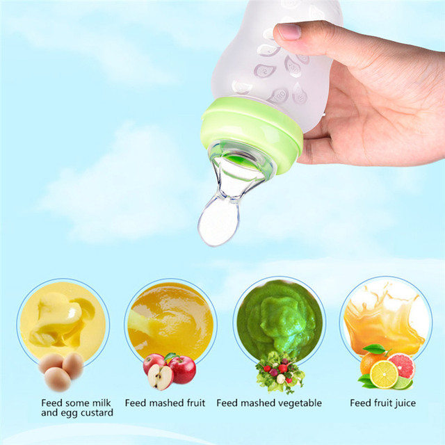 SUVI Silicone Soft Spoon Feeding Bottle with cover for Baby Children to East Mushy Rice Take Medicine Have Soup BPA Free 5