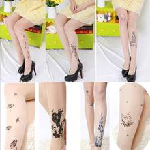 QA92 Fake tattoos print pantyhose 15D velvet tights women ultra show thin transparent stockings(China)
