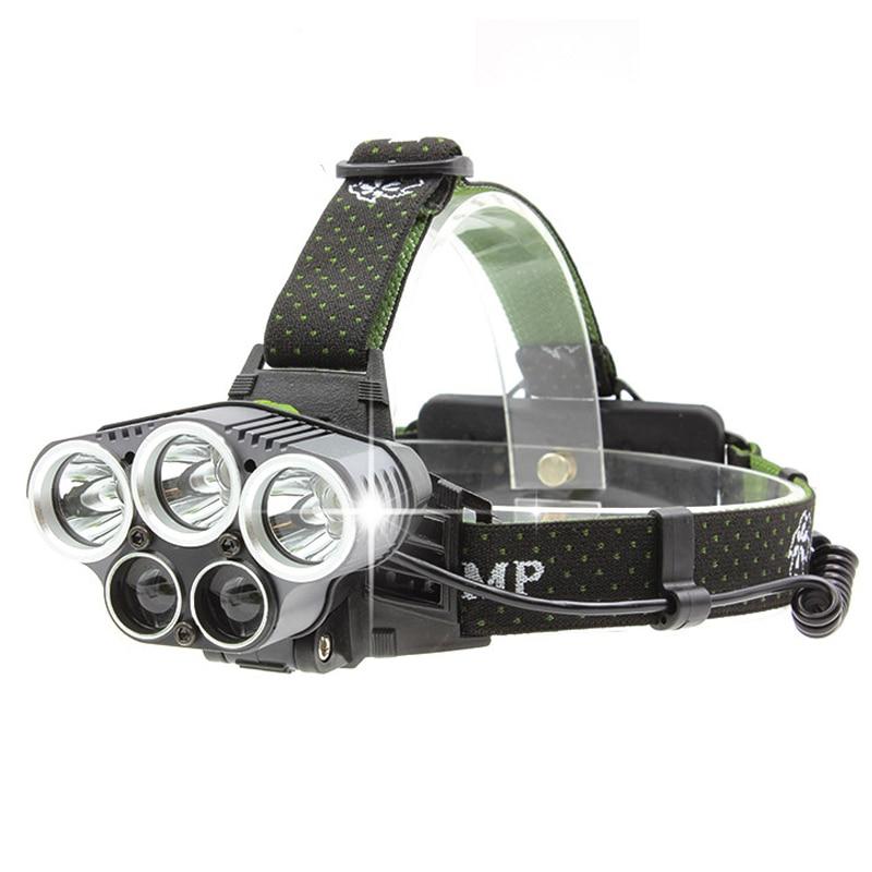 Huasign Ultra Bright LED koplamp 5 Leds Koplamp 8000 lumen XML T6 XPE - Draagbare verlichting