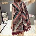 2016 Lenços de design de estilo nacional lenço grande das mulheres cachecol capa borla algodão cachecol tippet frete grátis