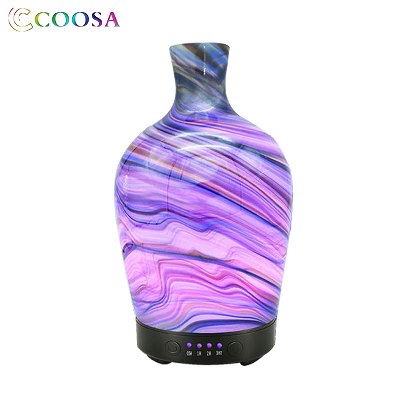 COOSA 3D Ultrasonic Air Humidifier 100ml Glass Vase Shape Aroma Essential Oil Diffuser Mist Maker 7 Color Lamp Difusor for Home