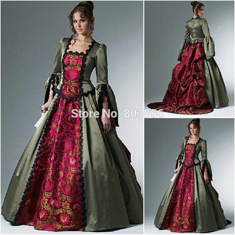 1800S Vintage Civil War Gothic Ball Gown Victorian Dresses