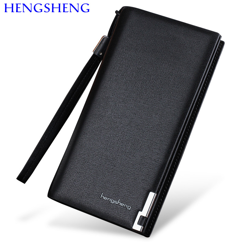 Free shipping HENGSHENG zipper men wallet with top quality leather long men wallet of cheap price boy male long wallets