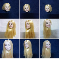 1/6 Happy Girl with Blond Straight Hair Women Head for 12'' Bodies