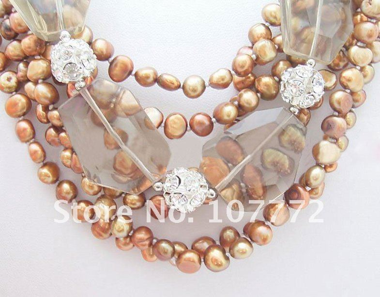 Fresh Water Coffee Pearl@Somke@Crystal ball Necklace