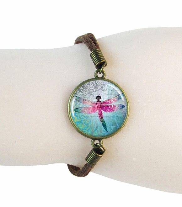 Стрекоза браслет кожа арт-птица браслет браслеты jewelry браслет Свадебный браслет Wrap браслет замечательные подарки