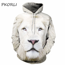 PKORLI 2017 Fashion Animal Hoodies Sweatshirt Men 3d Lion Head Print Hooded Harajuku Pullover Unisex Hoody Big Size M-6XL