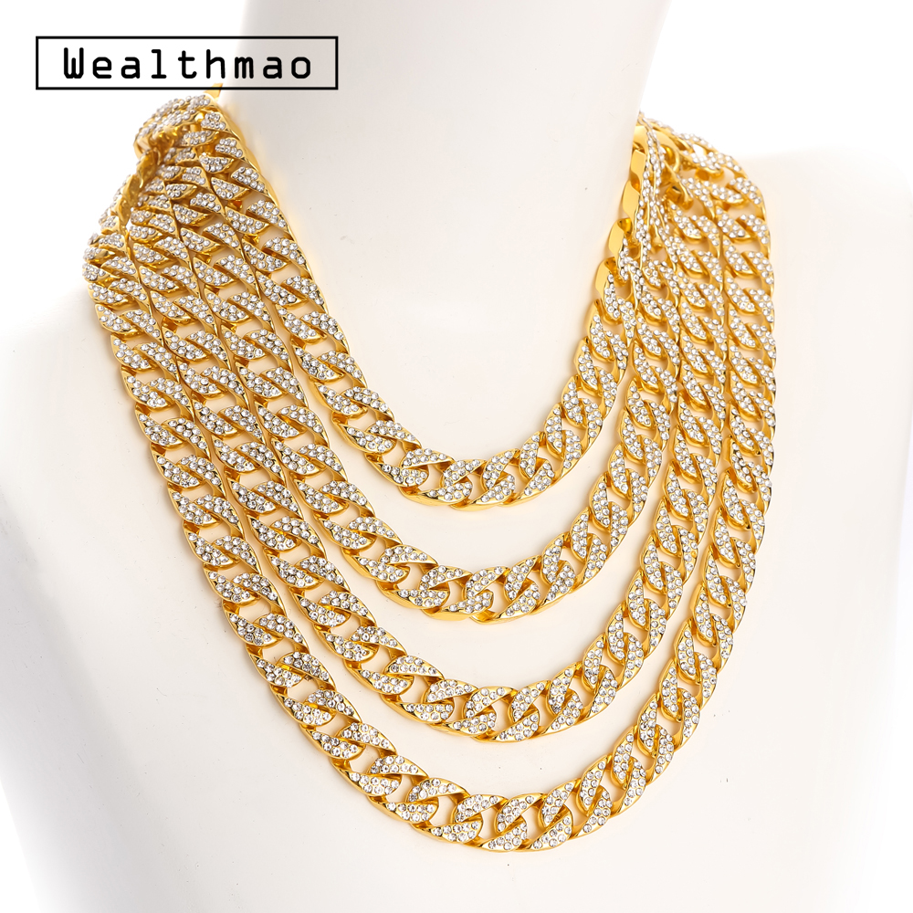 777ea4b63c Hip Hop Full Rhinestones Iced Out Miami Curb Cuban Chain Link Necklace Gold  Silver Color Bling Long Necklaces For Mens Jewelry
