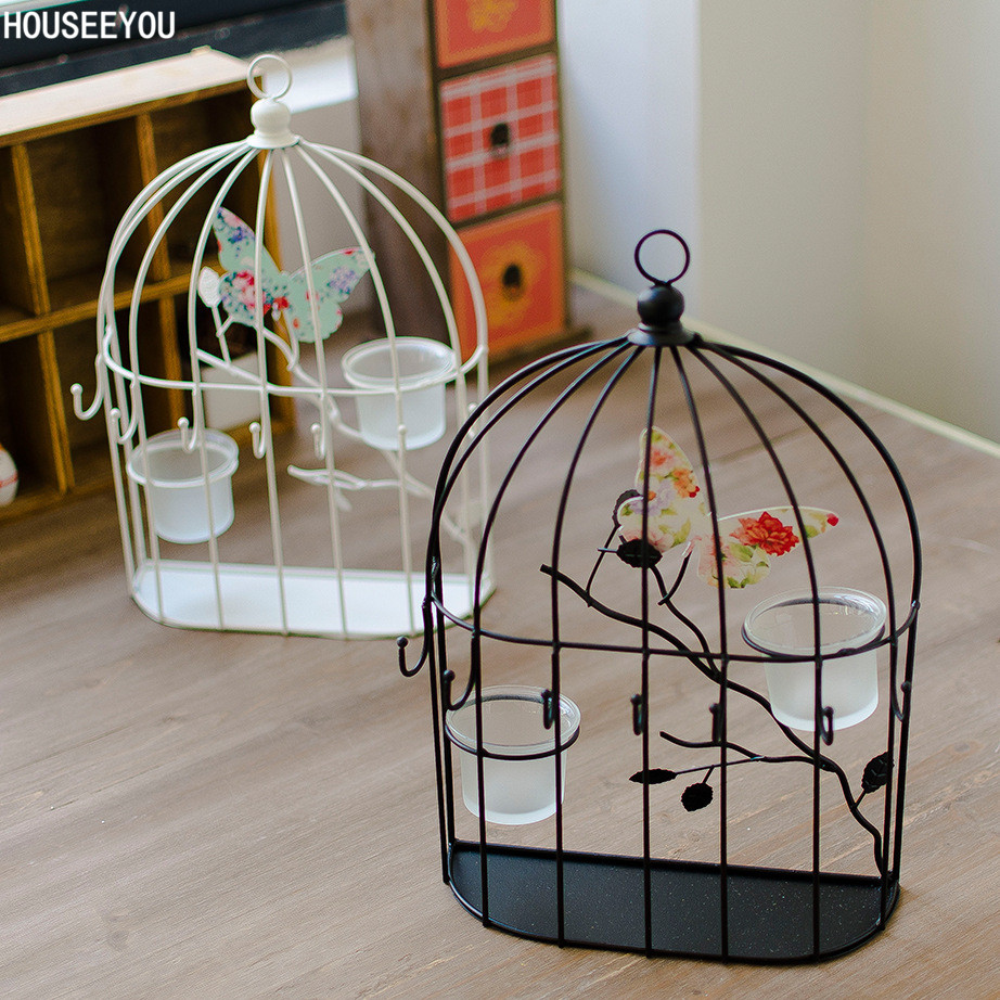 Decorative Wall Candle Holders Home Decor Candlestick Metal Wrought Iron Art Birdcage Candelabra Porta Velas For