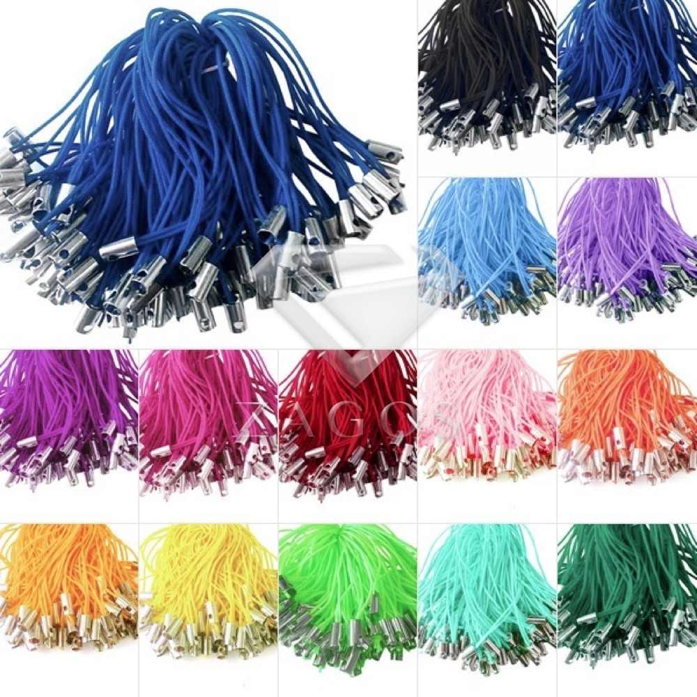 100Pcs 50mm Iron & Nylon Mobile Cell Phone Lanyards String Thread Wire Cords Strap Lariat End Crimps 14 Color Choose AA0001-14