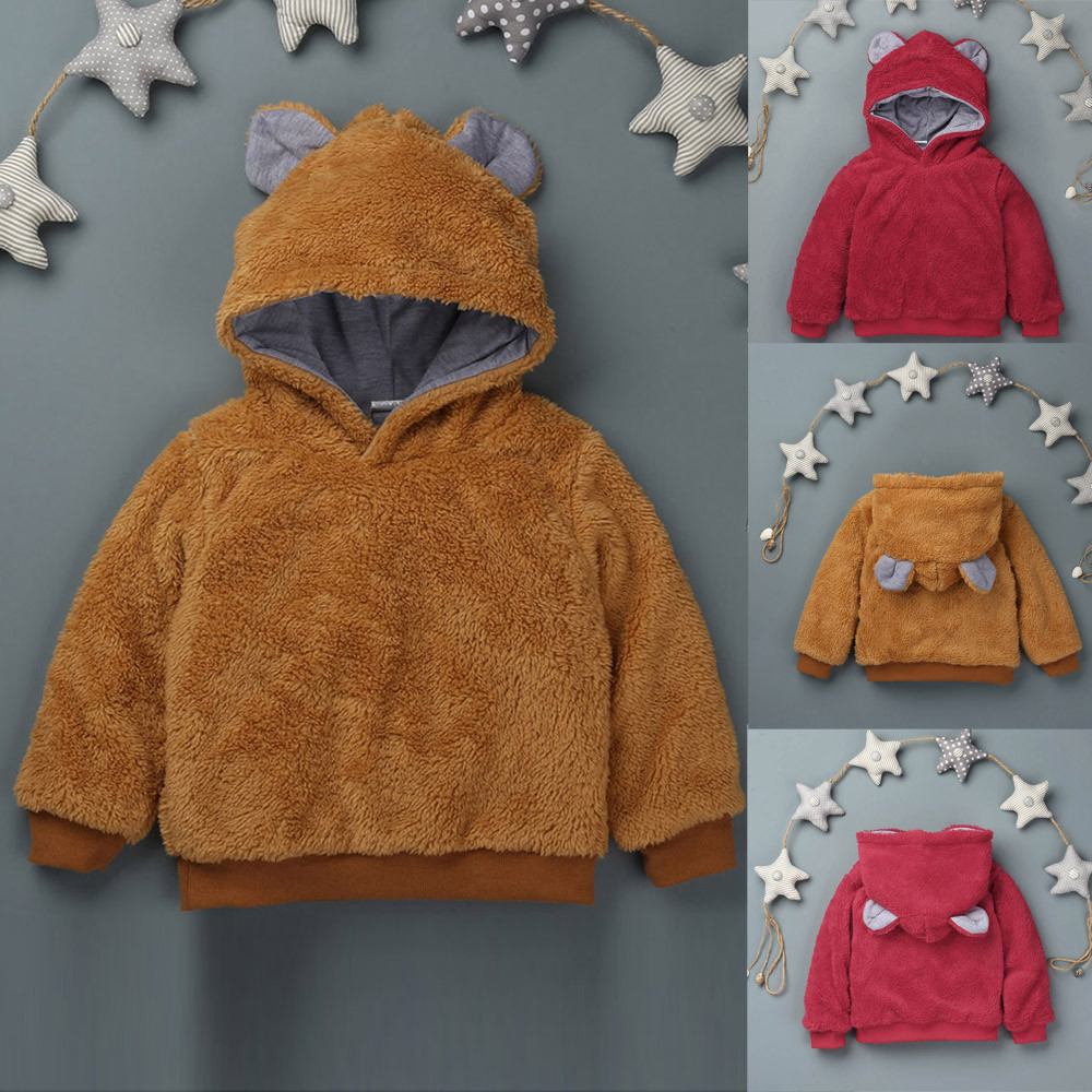 New cute winter baby Rabbit ears Hooded clothes Baby Infant Girls Boys Solid Cotton Thick Sweatshirt Kids Warm tops lowest price