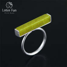 Lotus Fun Real 925 Sterling Silver Natural Stone Handmade Fine Jewelry Adjustable Ring Minimalism Rings for