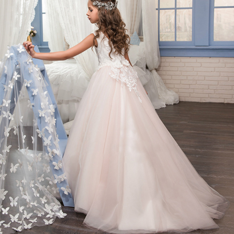 2019 Princess Cute   Flower     Girl     Dresses   For Wedding 3D Court Train Lace and Tulle first Communion   Dress   Special Occasion   Dress