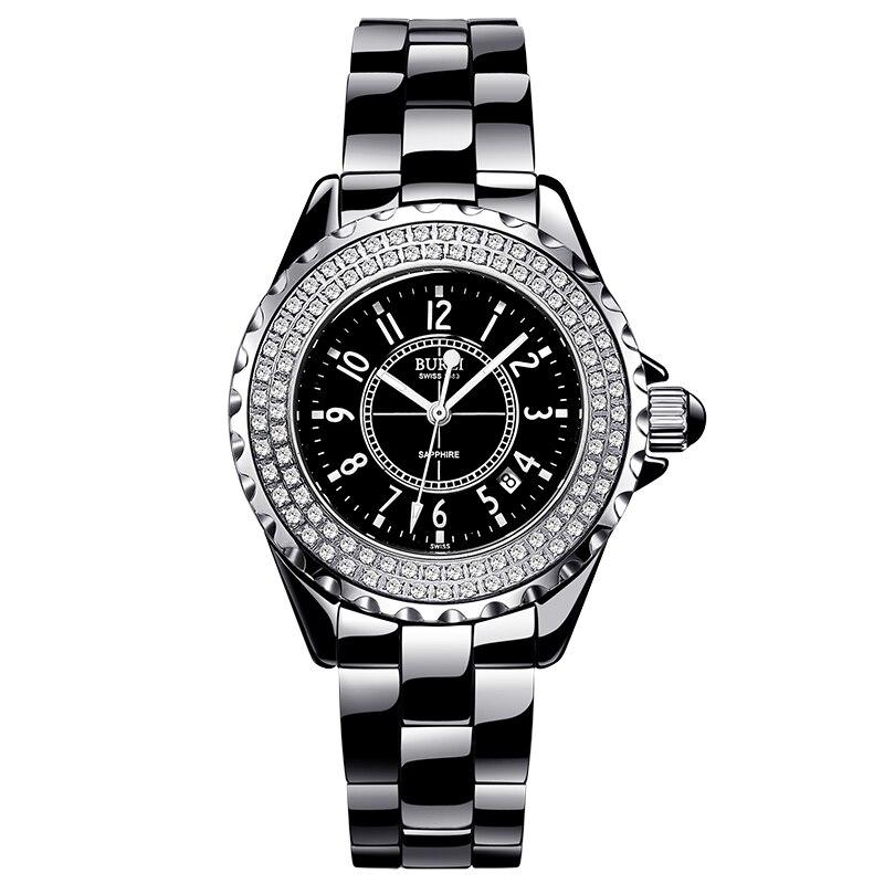 BUREI 18003 Switzerland watch women luxury brand J12 series Austria diamond Ceramic calendar number black relogio feminino карабин black diamond black diamond rocklock twistlock