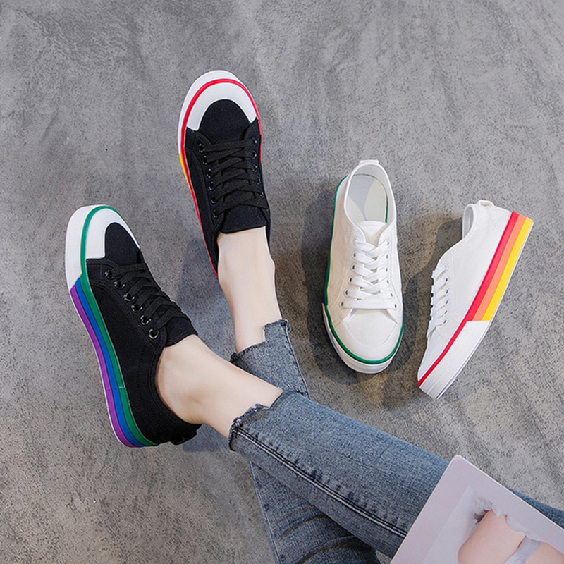 Women's Canvas Shoes 2019 Spring Autumn Casual Lace up Black Sneakers For Woman White Shoes Student Flat Sneakers Women Sneaker(China)