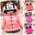 Cartoon Baby Girls Minnie Mouse Hooded Cotton Padded Outerwear Coat Jacket 1-4Y