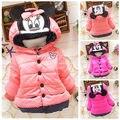 Los Bebés de la historieta de Minnie Mouse Con Capucha de Algodón Acolchado ropa de Abrigo Chaqueta de la Capa 1-4Y