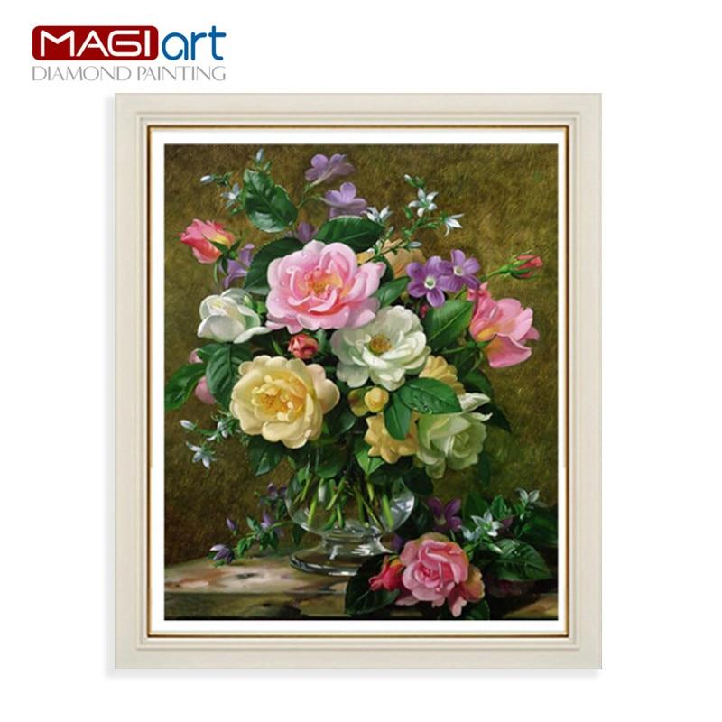 Diamond painting accessories Diamond embroidery 5D DIY mosaic Diamant picture of rhinestones full round Flowers vase