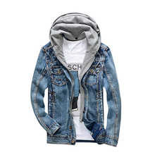 ABOORUN 2017 Mens Denim Jacket Distressed Hooded Jean Jacket Mens Spring Jacket and Coat Y2006