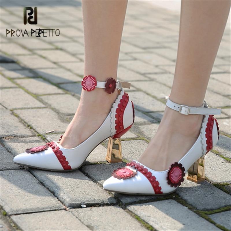 Femmes Pompes Bout Appliques Cheville Fleurs Main Pu Ciel Sangle Rivets Talons Pointu Prova Haute Chaussures Stiletto jaune rouge Valentine Perfetto 0tqIzw4x4